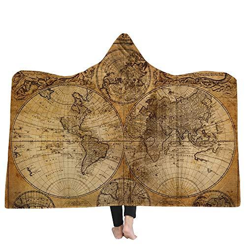 SKLLA Manta con Capucha niños Manta Doble Felpa 3D impresión Digital Mapa patrón,3,150cm*200cm