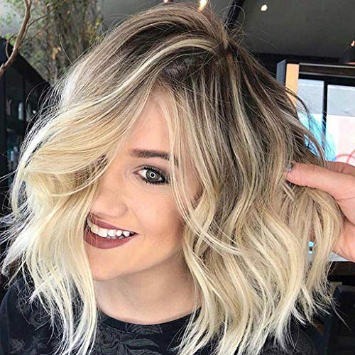 (Ombre Blonde Bob Wig Inkach Short Wavy Curly Full Hair Wigs Heat Resistant Synthetic Fiber Cosplay Party Hairpiece for African Black Women Human Wig (Gold) )