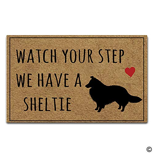 Artswow Watch Your Step We Have A Sheltie Funny Doormat Entrance Floor Mat with Non-Slip Rubber Backing Door Mat, 30 by 18 - Watch Sheltie