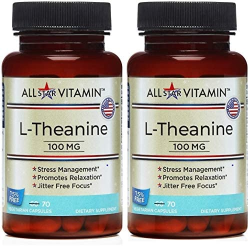 L-Theanine, 100 mg, 70 Vegetarian Capsules, 2 Pack 140 Total , Stress Free, Relaxation, Focus, Non-GMO, Gluten Free, All-Star Vitamin