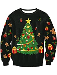 Unisex Funny Print Ugly Christmas Crew Neck Pullover Sweatshirt