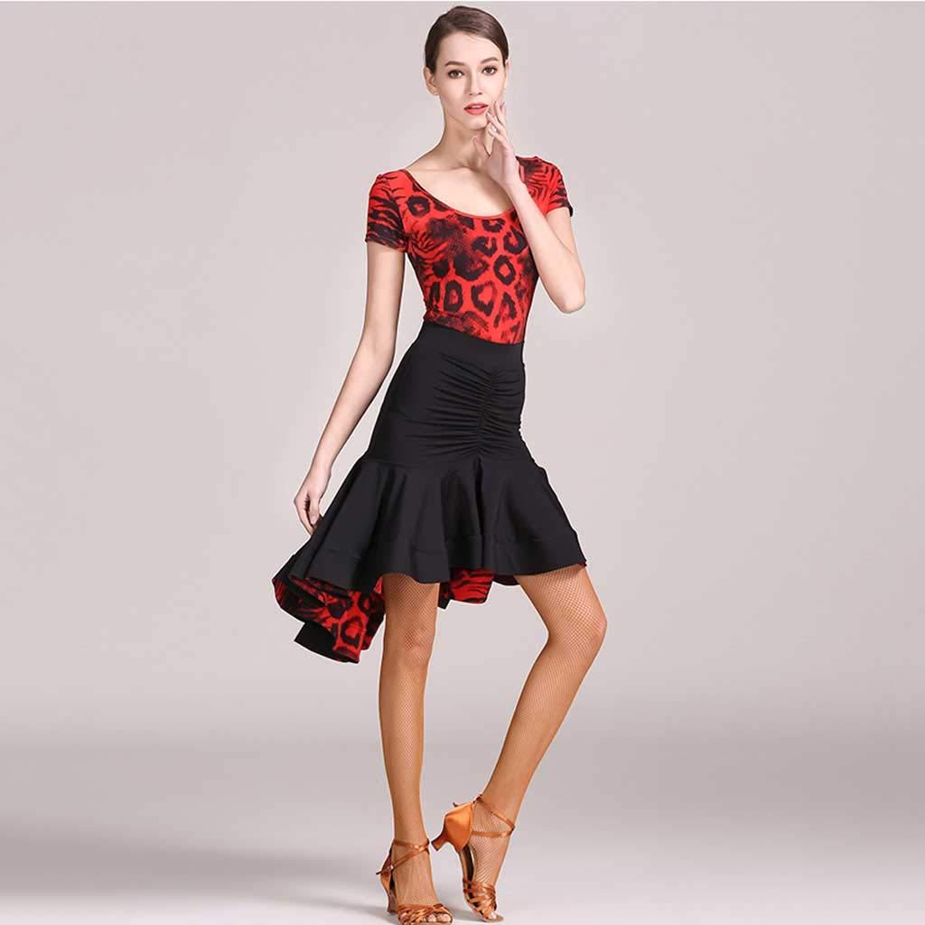 YTS Sommer-rotes Sommer-rotes Sommer-rotes Leopard-lateinisches Tanz-Kleid, lateinischer Tanz-Rock-kurzer Hülsen-Praxis-Satz B07H9WDLT7 Bekleidung Menschliche Grenze e81a6b