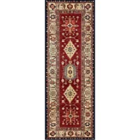 RUGGABLE Noor Ruby Washable Indoor/Outdoor Stain Resistant 2.5x7 (30x84) Runner Rug 2pc Set (Cover Pad)