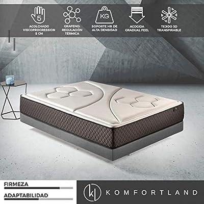 Komfortland Colchón viscoelástico Memory Vex Foam con 5 cm de ViscoProgression Grafeno, Altura 25 cm Medida 90x180 cm