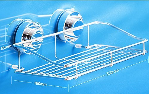 Stainless Steel Kitchen & Bathroom Suction Sink Center Storage Suction Basket Holder Organizer Shower Pole Caddy with Three Hooks Stick on Tough Surface Bath Rack (35085180mm)