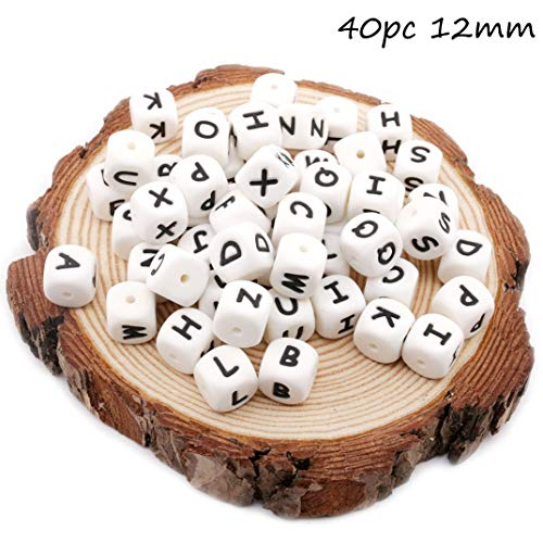 Baby Love Home Baby Teether 40pcs 12mm Silicone Perler Bead in 26 Alphabet Letter Nursing Necklace Beads