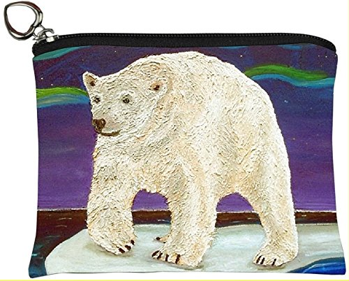 Polar Bear Change Purse, Coin Purse - From My Original Painting, Elusive Wonder - North American Bear Handbag