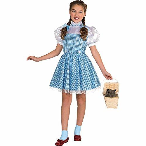 HalloCostume Wizard of Oz Child's Deluxe Sequin Dorothy Costume Set -Medium (8-10 years)