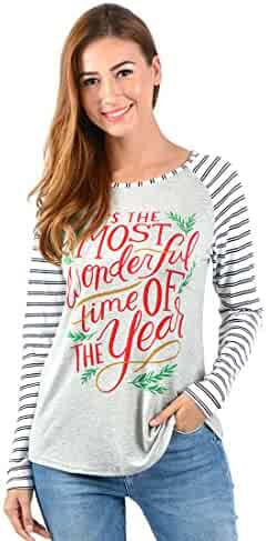 7a1c039999b378 Uideazone Women Christmas Print Long Sleeve T Shirt Casual Holiday Party  Blouse Tops