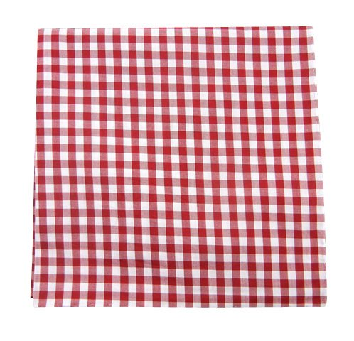 The Tie Bar 100% Cotton Red New Gingham Plaid Pocket (Red Gingham Pocket Square)
