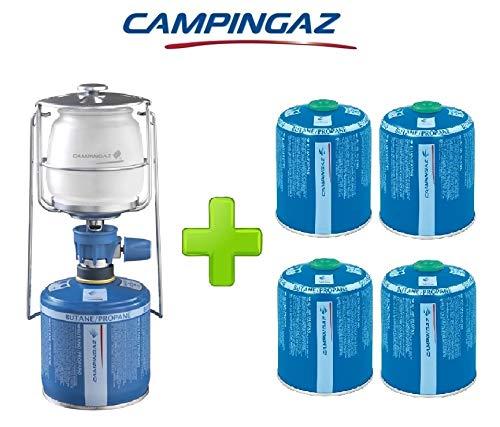 ALTIGASI Linterna lámpara de Gas lumogaz Plus Campingaz de 80W + 4Piezas Cartucho CV 470de 450gr