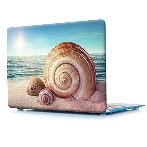 Macbook Retina 12 Case,Rubberized Hard Case for model A1534,Seashells Ocean Print Design with Blue Bottom Case For Macbook 12 Inch