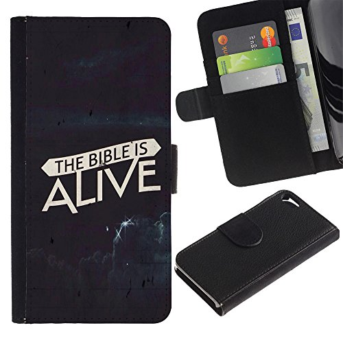 EuroCase - Apple Iphone 5 / 5S - THE BIBLE IS ALIVE - Cuir PU Coverture Shell Armure Coque Coq Cas Etui Housse Case Cover