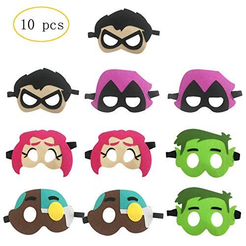 10pcs Teen Titans GO! Birthday Party Masks for Kids Party Favors Party Supplies -