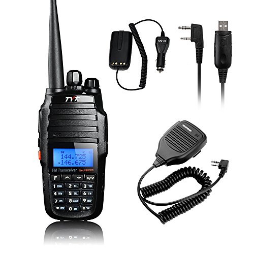 TYT TH-UV8000D Ultra-high Output Power 10W Amateur Handheld Transceiver, Dual Band Dual Display Dual Standby Two Way Radio+BF-S112 Mic+Program Cable+10W Car Charger Cable -Lightwish (Handheld Amateur)