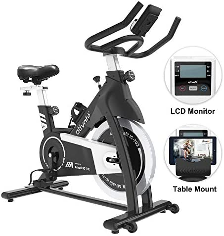 Ativafit Exercise Bike Stationary Indoor Cycling Bike 35 lbs Flywheel Belt Drive Workout Bicycle Training LCD Monitor Ipad Mount Adjustable Handlebar