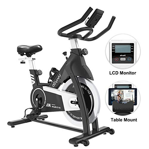 ATIVAFIT Exercise Bike Stationary Indoor Cycling Bike 35 lbs Flywheel Belt Drive Workout Bicycle Training LCD Monitor/Ipad Mount/Adjustable Handlebar for Home Cardio Workout