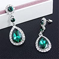 ERAWAN Hot Fashion Women Vintage Jewelry Crystal Rhinestone Drop Dangle Stud Earrings EW sakcharn (Green)