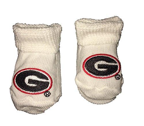 Georgia Bulldogs (G) Logo Newborn Booties (White)