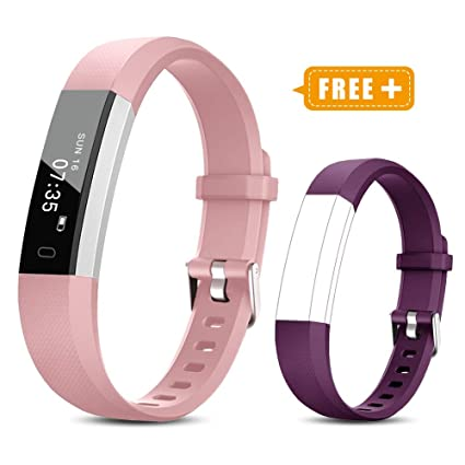 TOOBUR Fitness Activity Tracker Watch for Kids Girls Women, Pedometer, Calorie Counter, IP67 Waterproof Step Counter Watch with Sleep Monitor and Vibrating Alarm Clock (Pink Purple) best stocking stuffers for teen girls