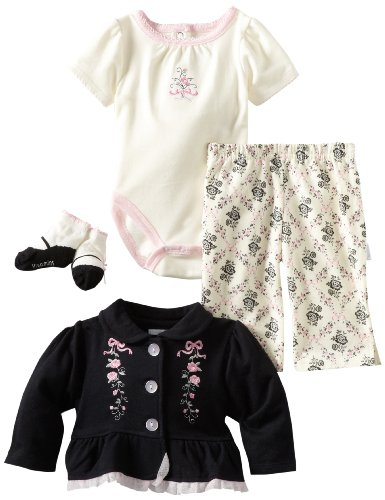 Vitamins Baby Baby-girls Newborn Pretty In Pink 3 Piece Creeper Pant Set