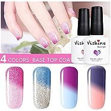 Vishine Gel Nail Polish Colors LED UV Light Color Changing Nail Polish, 4 Colors 10ML