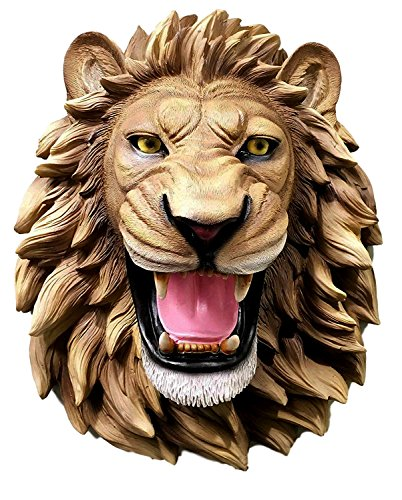 Ebros Gift Large King Of The Jungle Roaring Lion Head Wall Mount Bust Sculpture Plaque Head Bust Sculpture