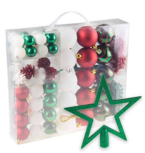 Clever Creations 54 Piece Red, White and Green Christmas Ornament Set Balls, Pinecones, Icicles, Garland and Topper | Festive Holiday Décor | Lightweight Shatter Resistant | Hangers Included -