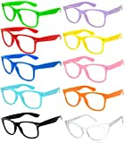 Classic Vintage Clear Lens Sunglasses Colored Frame 10 Pack OWL