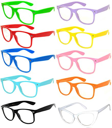Classic Vintage Clear Lens Sunglasses Colored Frame 10 Pack OWL by OWL