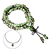 CAT EYE JEWELS 108 Prayer Beads Bracelet Porcelain Buddhist Vintage Style Mala Beads Bracelet Necklace Fambe Green