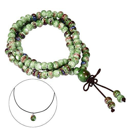- CAT EYE JEWELS 108 Prayer Beads Bracelet Porcelain Buddhist Vintage Style Mala Beads Bracelet Necklace Fambe Green