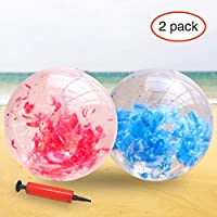 YOBAYE Inflatable Beach Ball Giant Beach Ball Filled with Feathers Swimming Pool Water Toys for Kids Adults Summer Beach Favor, 2 Pack, 24 Inch