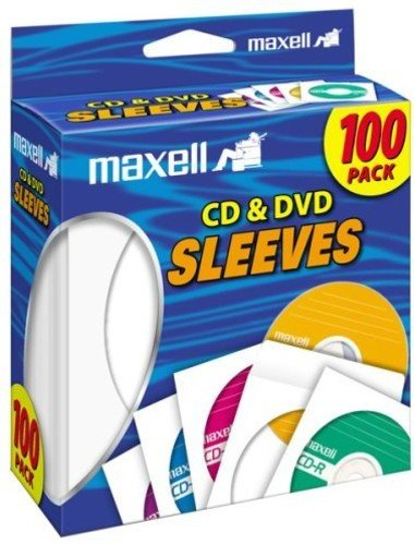 Maxell 190133 Cd & Dvd Sleeves White 100Pk (Maxell Cd / Dvd Sleeves)