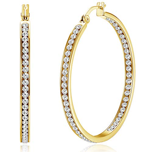 ORAZIO Stainless Steel Women Hoop Earrings Cute Huggie Earrings Cubic Zirconia Inlaid 50MM (C: Gold-tone)