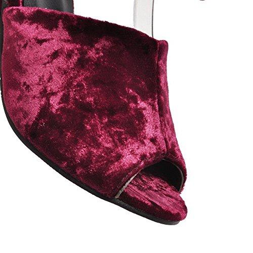 À Ouverture Talon Suédé Lacet Sandales Vineux Rouge Petite Haut Femme Aalardom tsflh005897 EqUWgZ