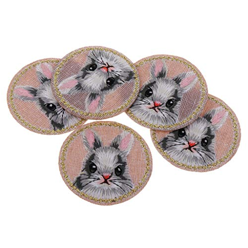 5X Embroidered Animal Iron on Patches Panda Rabbit Cat Badge Cloth Stickers | Color - Rabbit ()