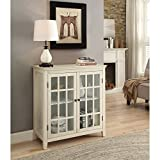 Double Door Cabinet in Antique White Finish