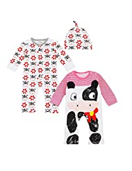 Happy Cherry 3 Pieces Baby Girls Cute Cow Pattern Long Sleeve Playsuit Sleepwear Romper Set