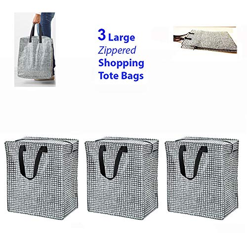 Set of 3 (Black/White) Shopping Bag Zippered Grocery Tote Gifts Reusable Tkmini9 from Unknown