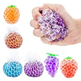 6Pcs Stress Relief Balls, Mesh Squeezing Ball Funny Vent Toys Sensory Rubber Fruit Ball for Kids Adults Autism, ADHD, Anxiety, Bad Habits Squeeze Stress Ball