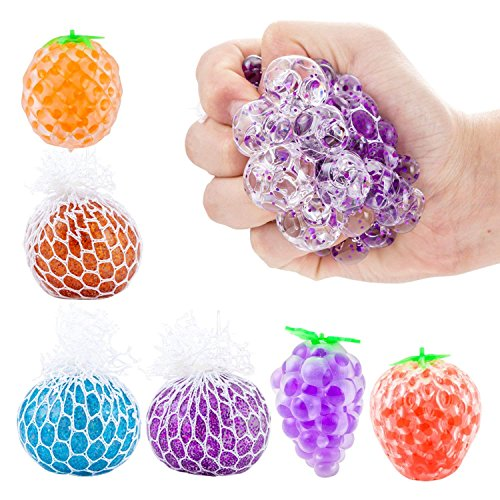 6Pcs Stress Relief Balls, Mesh Squeezing Ball Funny Vent Toys Sensory Rubber Fruit Ball for Kids Adults Autism, ADHD, Anxiety, Bad Habits Squeeze Stress Ball by Shallylu