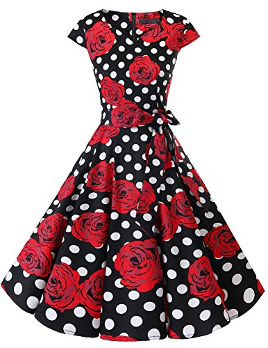 DRESSTELLS Retro 1950s Cocktail Dresses Vintage Swing Dress with Cap-Sleeves Black Red Rose Dot XS
