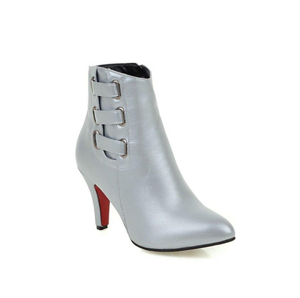 Zrf angenehm Rutschfest Autumn and Winter Fashion Female Stiefel High-Heeled Side Zipper Short Stiefel widerstandsfähig warm (Farbe   Silber größe   38)