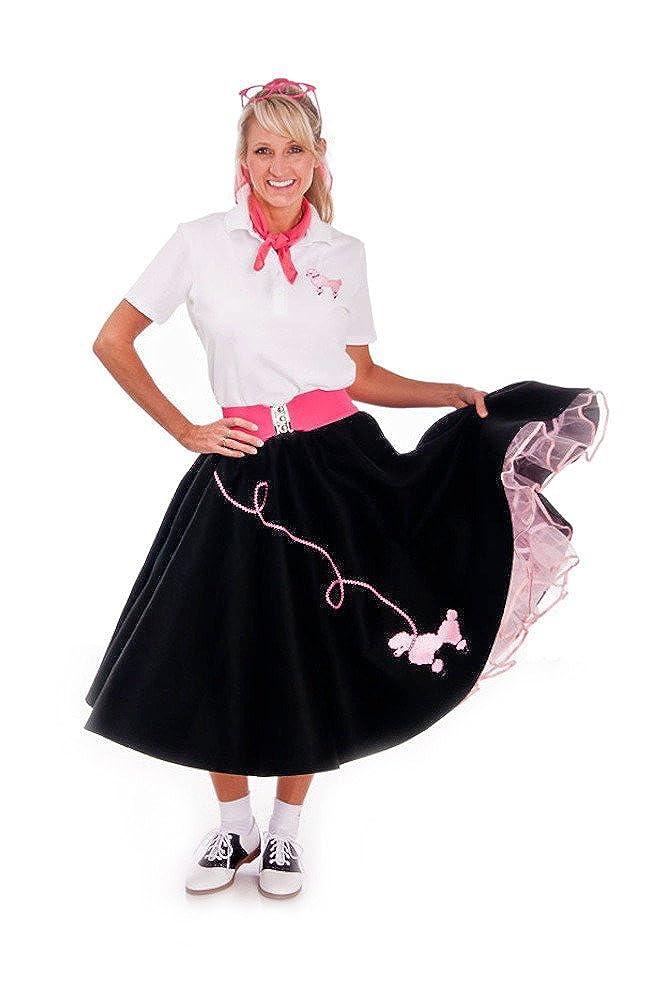 1febd2e419580 Amazon.com: Hip Hop 50s Shop Adult 4 Piece Poodle Skirt Costume Set:  Clothing
