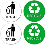 Recycle & Trash Stickers (2 Trash + 2 Recycle, Premium Quality) for Use on Trash Cans & Recycle Bins of All Types; 4'' Round with Adhesive on Back (2 White Trash + 2 Green Recycle)