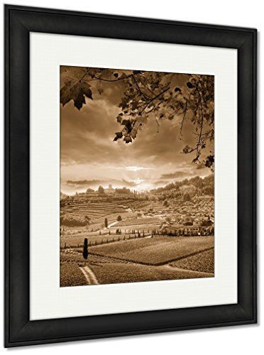 Ashley Framed Prints Chianti Vineyard Landscape In Tuscany Italy, Wall Art Home Decoration, Sepia, 35x30 (frame size), Black Frame, ()