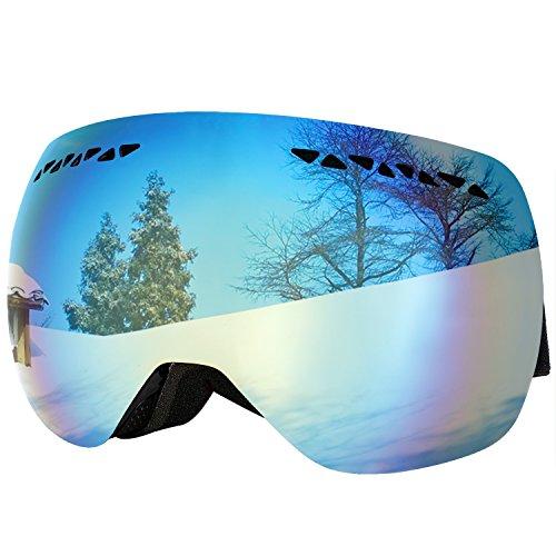 Supertrip Professional Ski Goggles for Men and Women Double Lens Anti-fog Big Spherical Skiing Unisex Multicolor Snow Goggles Gray Revo Mirror Gold Blue (VLT - With Google Prescription Glasses Lenses