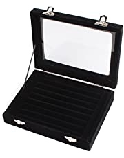 Niome Women Velvet Glass Jewelry Box Display Storage Case Holder Ring Earrings Organizer Stand