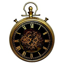 Large Decorative Pocket Watch Wall Clock- Traditional Vintage Antique Retro Design- (18 x 4 x 24)